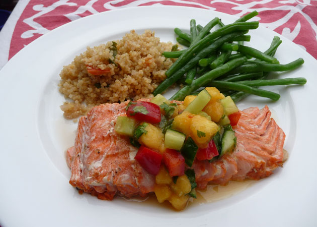 Salmon with Peach Cucumber Salsa - Sweet Potato Chronicles
